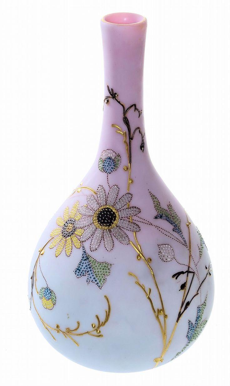 Mt Washington Peach Blow Plush Finish Vase with Queens Decoration - 8 Inch HOA