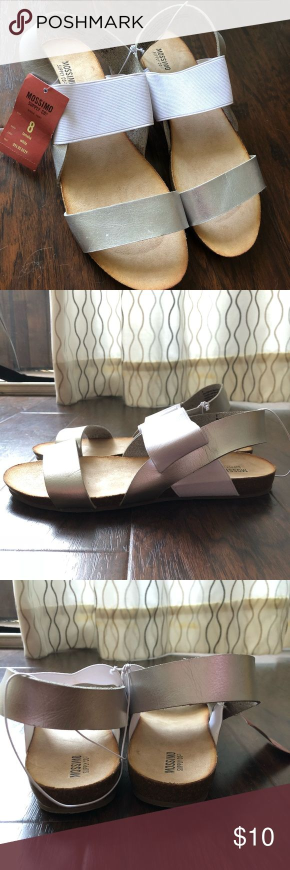 Mossino Supply Co white/silver flat sandals NWT Originally from Target, never worn, thick straps Mossimo Supply Co Shoes Sandals
