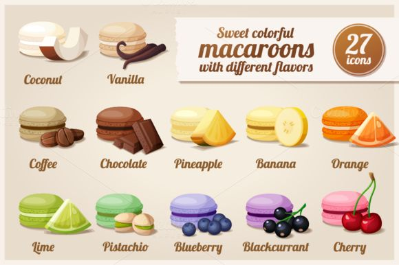 Check out Macaroons with different flavors by Ann-zabella on Creative Market