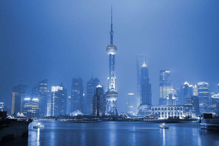 Shanghai - Pudong skyline icy blue by Markus Bahlmann