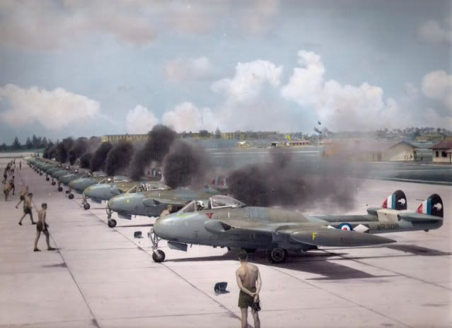 de Havilland Venoms FB.1 of 14 Squadron, RNZAF, based at RAF Tengh Singapore…