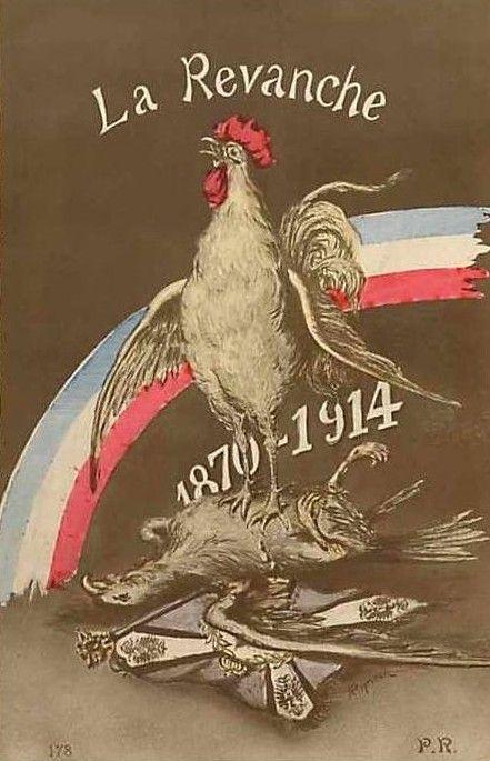 Carte postale éditée en 1914 : le coq gaulois victorieux de l'aigle allemand