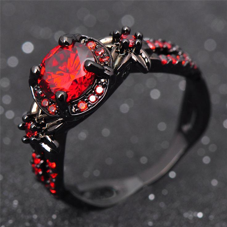 패션 꽃 빛나는 레드 링 레드 가넷 여성 매력적인 약혼 보석 블랙 골드 채워진 약속 반지 보석 팜므 RB0435