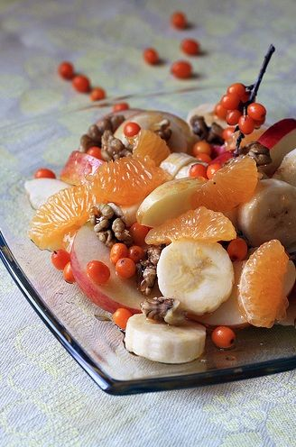 Winter Fruit Salad with my favorite new superfood Sea Buckthorn (replace Sea Buckthorn with blueberries, if you can't find fresh sea buckthorn)