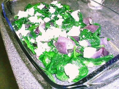 Spinach and Goat's Cheese with caramelized Red Onions