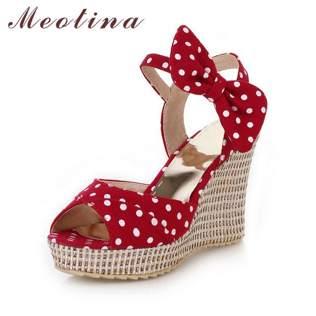 Check it on our site Meotina Summer Platform Shoes Ladies Fish toe Polka dot Bow Platform Wedges Heels Women Shoes Two Piece Ladies Shoes Red Blue just only $23.79 with free shipping worldwide  #womenshoes Plese click on picture to see our special price for you