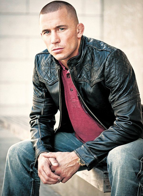 FIGHTER'S COAT: Georges St.-Pierre, an MMA fighter sponsored by Affliction, wears an Affliction leather jacket.