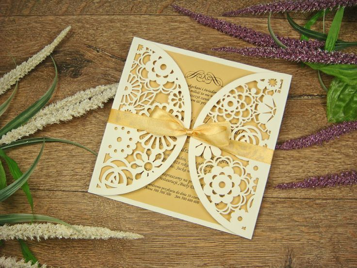 zaproszenia weselne  z kolekcji Koronka z Kwiatów wzór 37