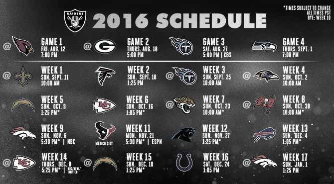 Oakland Raiders 2016 Regular Season Schedule Announced... I'm ready to shock the world!!! 11-5!!!