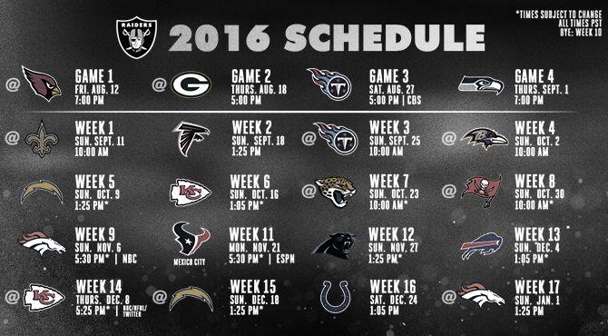 Oakland Raiders 2016 Regular Season Schedule Announced... I'm ready to shock the world!!! 11-5!!!