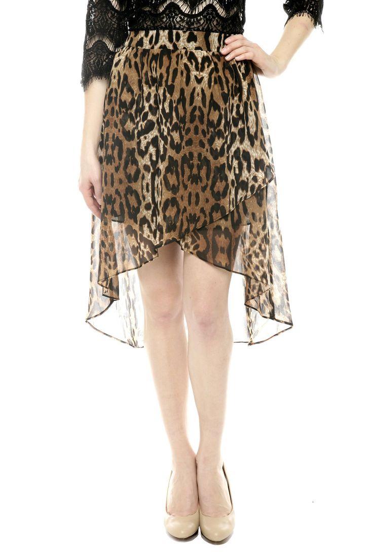 Animal Print Hi-Lo Skirt