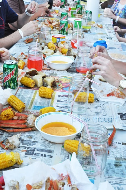 Crab Boil Party - Need to do this with friends this summer! sausage, clams, shrimp, red potatoes, corn on the cob, onions, lemons