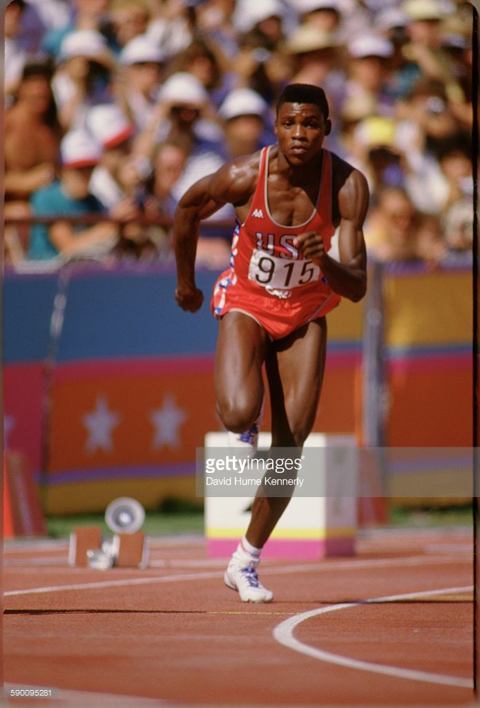 Carl Lewis competes at one of the track and field event during the Olympic Games, August 8, 1984, in Los Angeles.