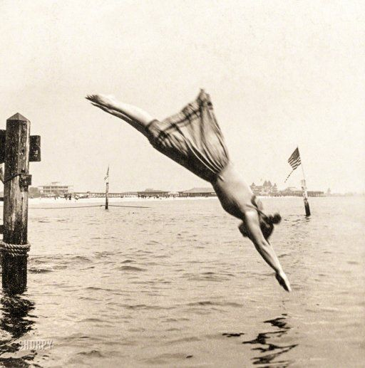 """Circa 1892. """"Woman diving from pier."""" Albumen print from """"J.S. Johnston's series of American stereoscopic views,"""" 1889-1892."""