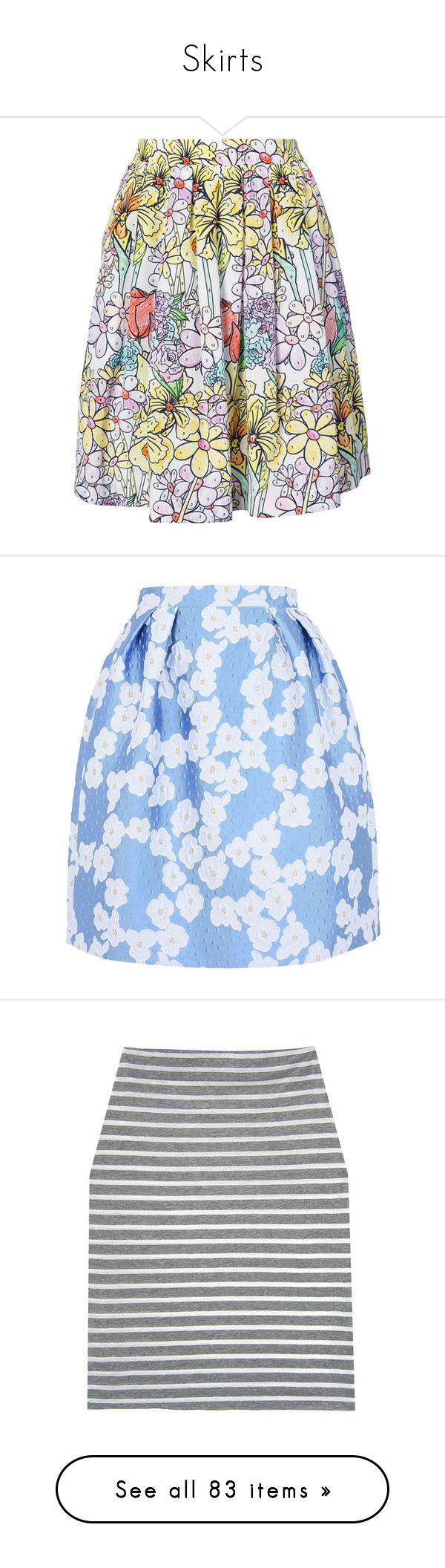 """""""Skirts"""" by haleyadams101762 ❤ liked on Polyvore featuring skirts, multicolor, ruched skirt, colorful skirts, high-waist skirt, moschino skirt, floral pattern skirt, blue, sky blue and multi color skirt"""