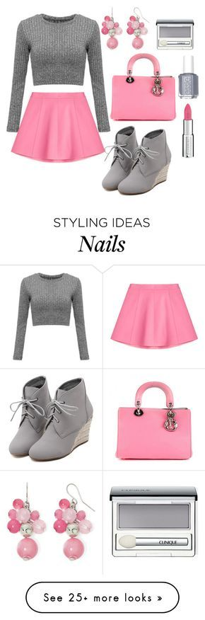 """Pink and Gray"" by jilld727 on Polyvore featuring RED Valentino, Essie, Christian Dior, WithChic, Mixit, Clinique and Givenchy"