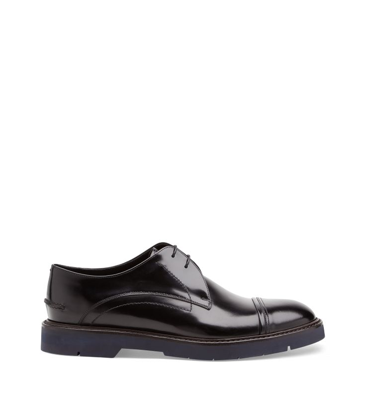 LACE-UP SHOEBlack brushed calfskin lace-up with sturdy rubber sole.Made in Italy