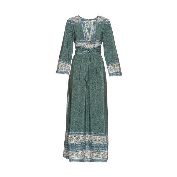 Sea NY Sabine Dress (£565) ❤ liked on Polyvore featuring dresses, green, long sleeve print dress, v-neck dresses, green dress, green print dress and silk maxi dress