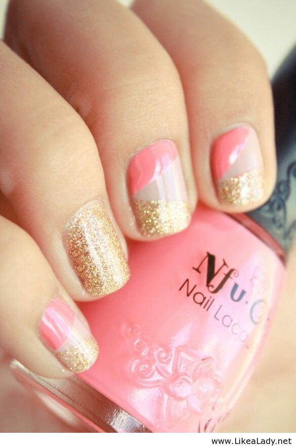 Gold and pink manicure