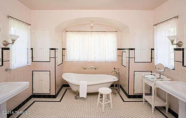 """Mamie Pink"" (named after Mamie Eisenhower) vintage bathroom in Linda Ronstadt's 1920s house in Tucson Arizona"