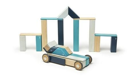 Tegu 42 Magnetic Wooden Blocks - Blues - Notes From a Home Educator