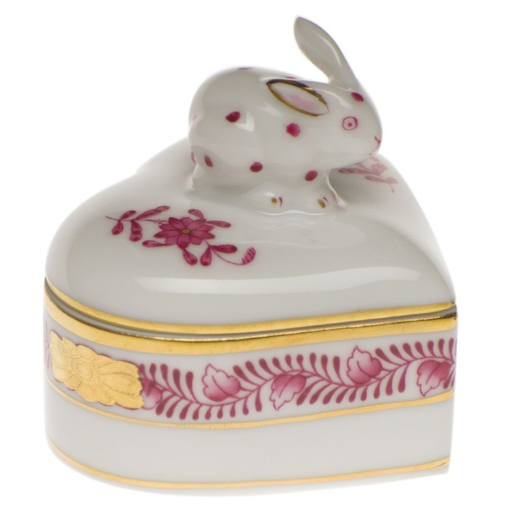 Herend Raspberry Heart Box with Bunny $110.00