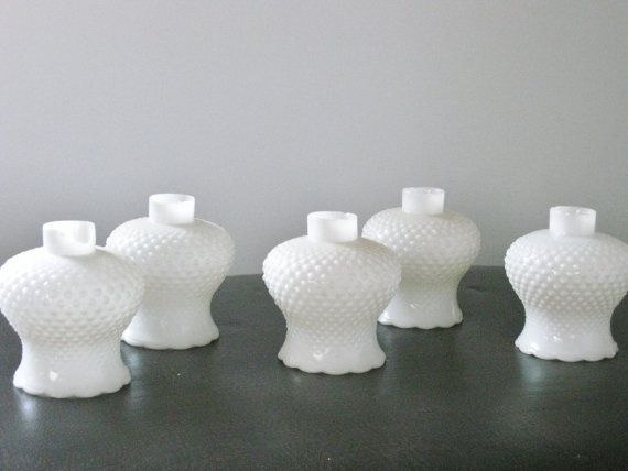 Vintage Hobnail Globes Chandelier White Milk Glass Shades