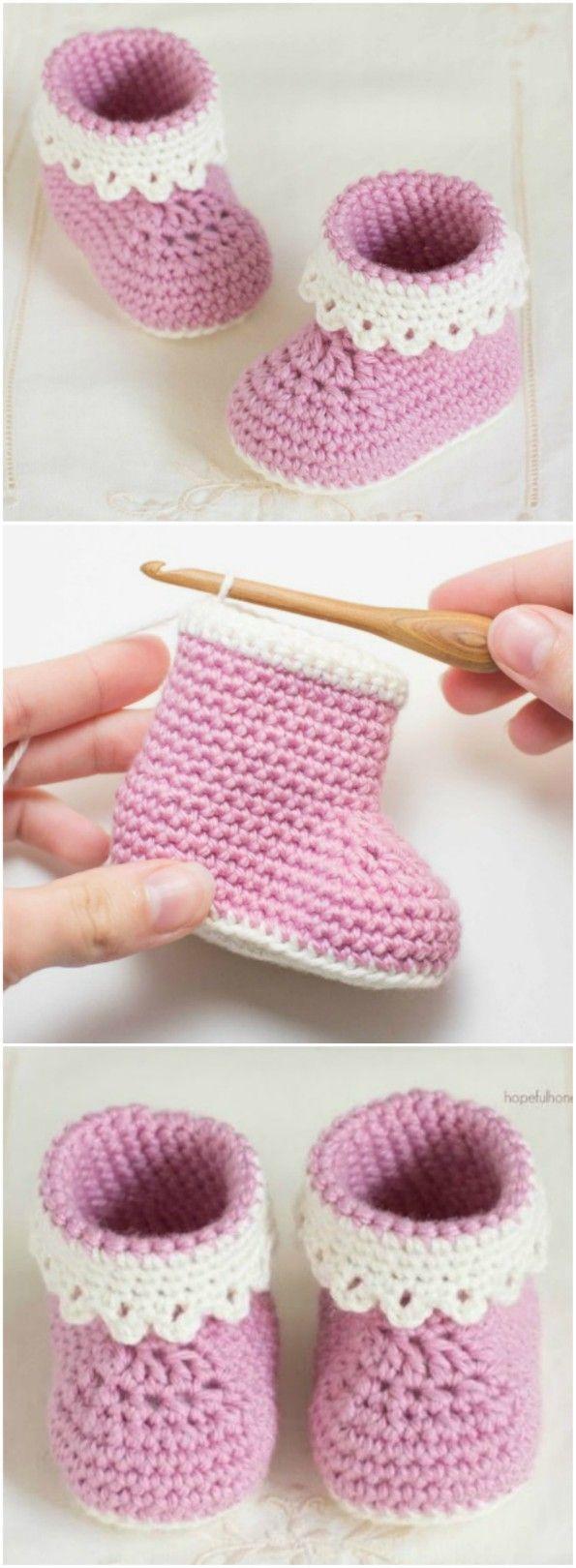 Häkeln Sie Baby Booties Muster viele der süßesten Idee