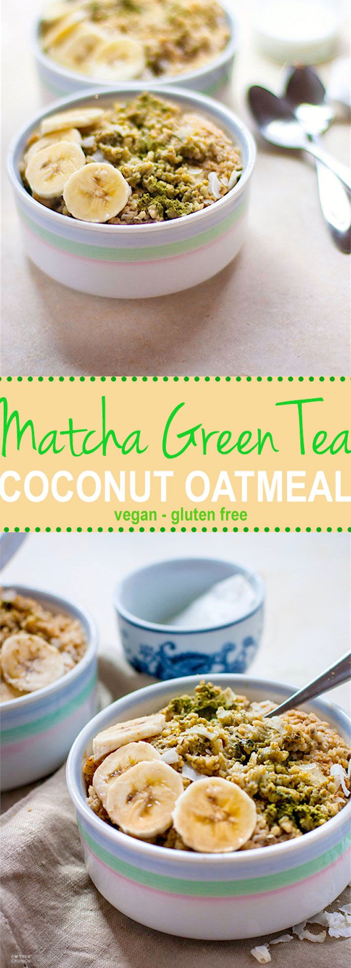 Energizing Coconut Matcha Green Tea Oatmeal! A gluten free and vegan friendly breakfast to POWER you through the day. Healthy matcha green tea paired with creamy coconut milk,  gluten free oatmeal, and coconut flakes to make one nourishing bowl of goodness. #udisglutenfree @cottercrunch