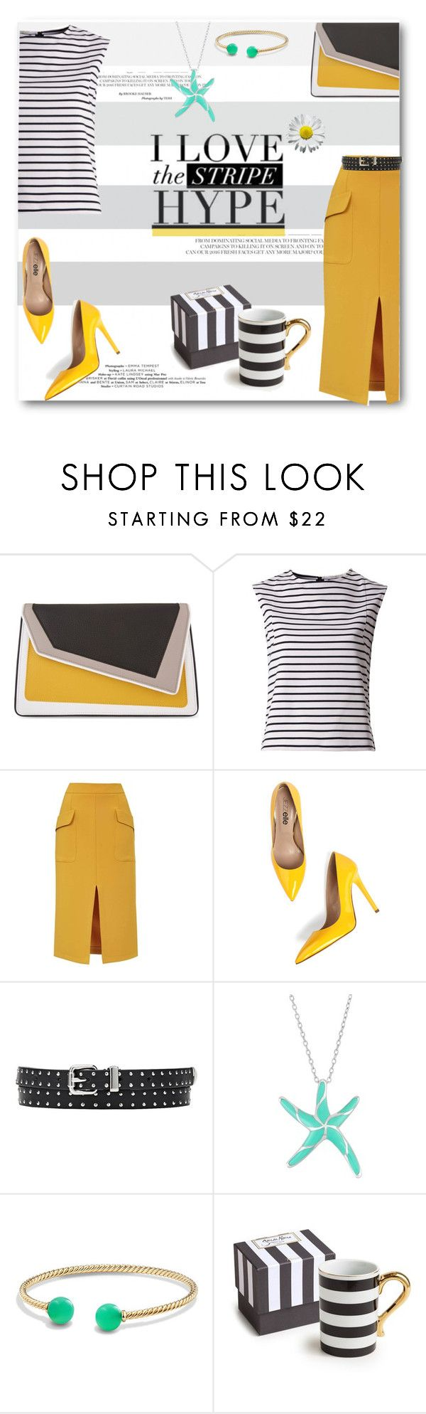 """I Love the Stripe Hype!"" by deeppurplesea on Polyvore featuring âme moi, Tommy Hilfiger, Topshop, David Yurman, Rosanna, stripes, stripedshirt and summerworkwear"