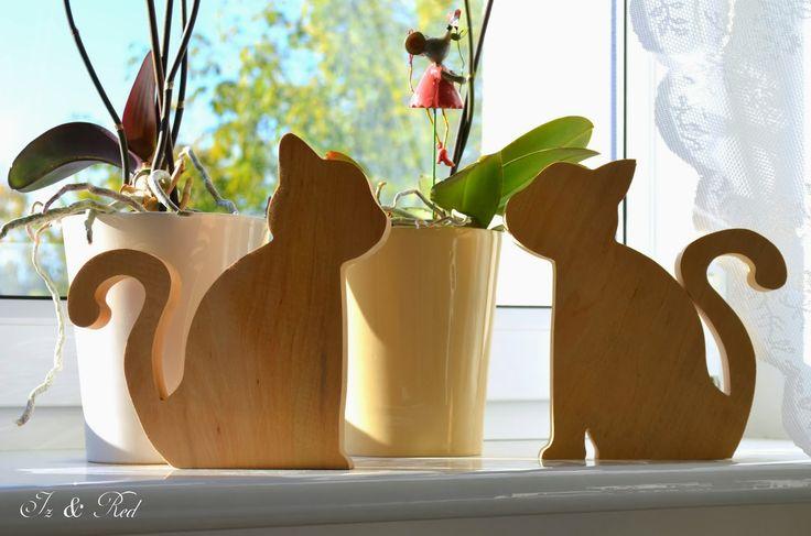 Old Tools And Woodworking - litery i napisy z drewna, wsporniki, półki z drewna: Ech koty, koty