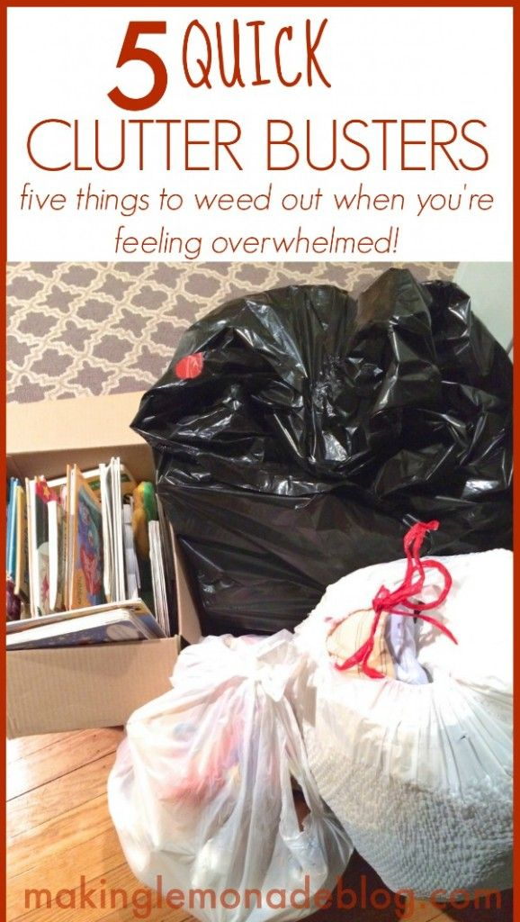 5 Quick Clutter Busters! Feeling overwhelmed with stuff? Here's 5 FAST things to declutter to almost instantly give you room to breathe. via www.makinglemonadeblog.com #organization