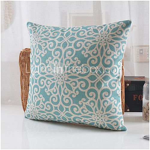 Blue Blossom Pattern Cotton/Linen Decorative Pillow Cover - EUR €14.69