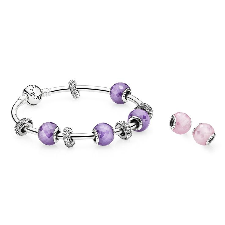 PANDORA bangle bracelet with perfect pastel colors for spring. #PANDORAcharm #Spring2015