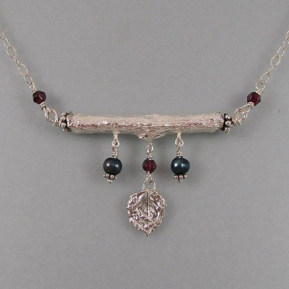 Real  organic branch necklace handcrafted in sterling silver with real leaf, pearls and faceted rough garnet by Kryzia Kreations