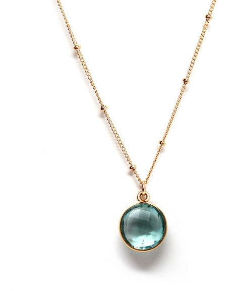 Rachael Ryen - Blue Topaz Satellite Chain Gold Framed Petite Gemstone Pendant