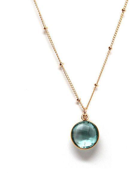 Rachael Ryen - Blue Topaz Satellite Chain Gold Framed Petite Gemstone Pendant