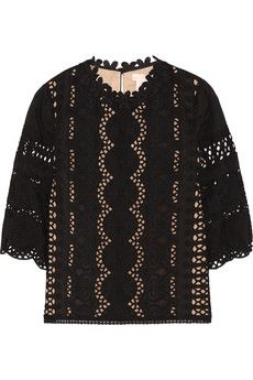 Collette by Collette Dinnigan Rococco broderie anglaise cotton and silk-blend top | NET-A-PORTER