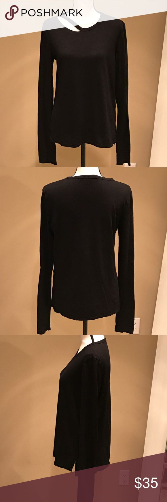 Pam & Gela Long Sleeve T-Shirt Pam & Gela Black Long Sleeve T-Shirt with ripped/cutout detail at neck with side slits. Very comfortable and cozy. Size Large but fits more like a Medium.   Worn Once. Great Condition. Pam & Gela Tops Tees - Long Sleeve