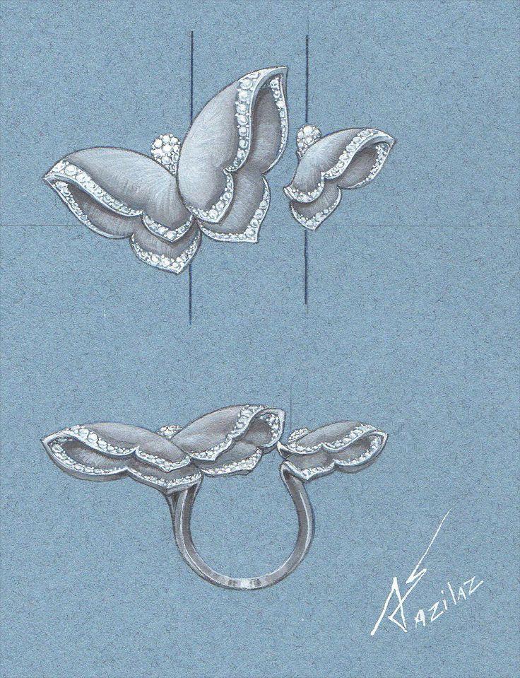 Butterfly ring - jewellery design by Azilaz