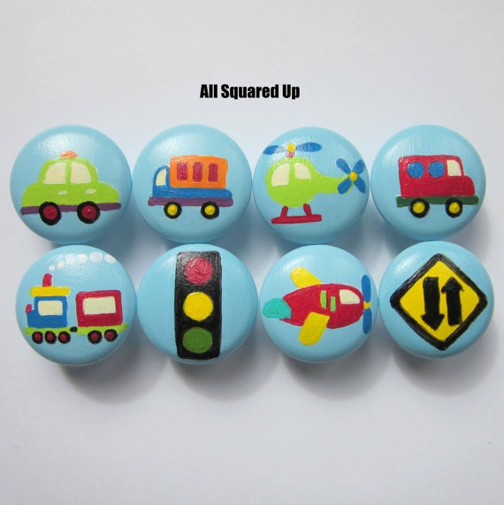Transportation themed drawer knobs. These would look cute in Talyn's room