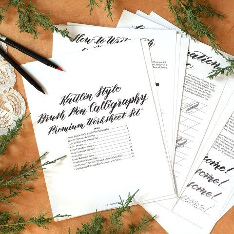 *NEW* Premium Brush Pen Calligraphy Worksheet Set {Kaitlin Style}