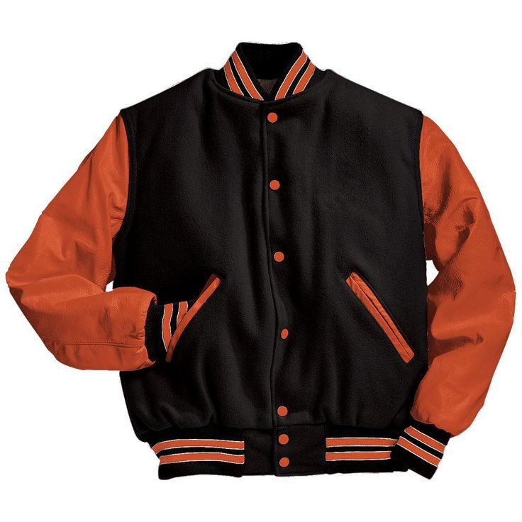 Black, Orange, and White Varsity Letterman Jacket Black and Light Gold Varsity Letterman Jacket from Mount Olympus Awards.  Genuine leather sleeves and trim with premium melton wool body.  Typically ships in 24 to 48 hours unless customized with embroidery or letterman jacket patches such as a varsity letter.