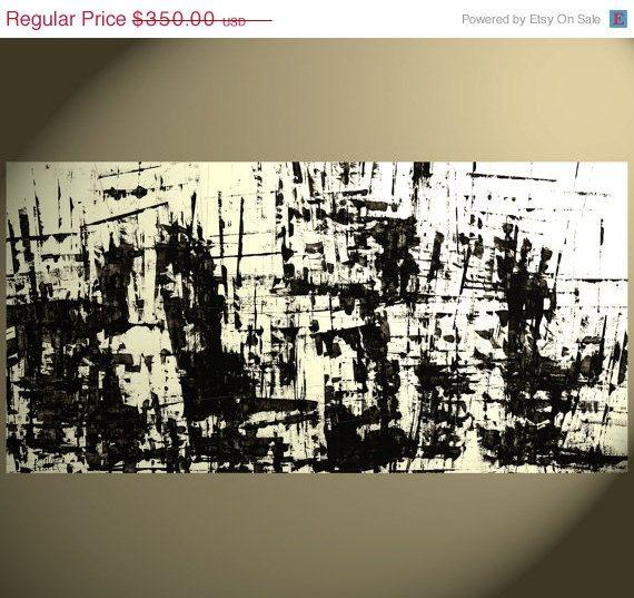 En vente énorme Original 48 x 24 - sur commande - peinture abstraite - personnalisé Original Art - noir et blanc - élément structurel