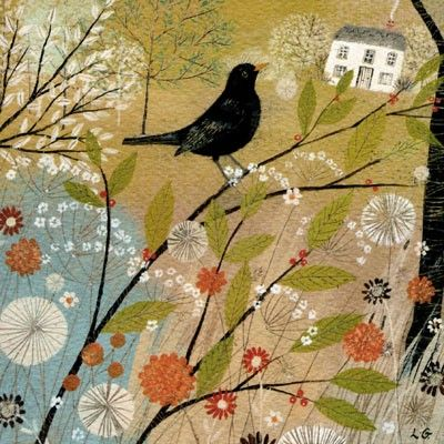 PL-ESK014 Pretty greetings card for any occasion illustrated with a blackbird singing in a tree by Lucy Grossmith