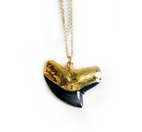 black SHARK tooth necklace petite by keijewelry on Etsy
