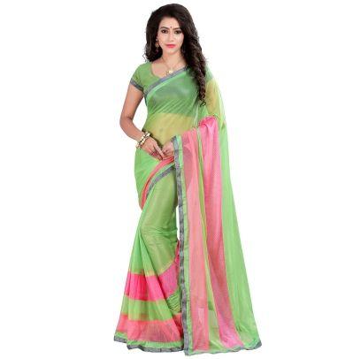 Buy Today Splendid Green Color Lycra Self Design Designer Party Wear Saree by…