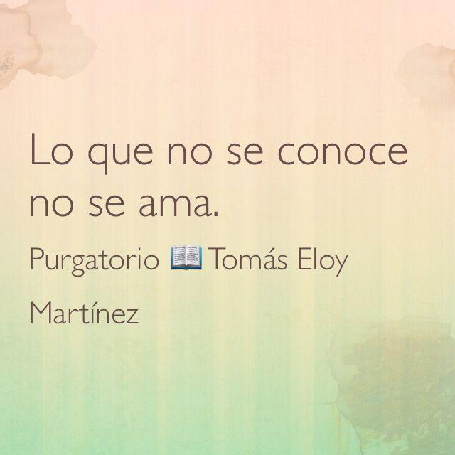 Lo que no se conoce no se ama. Purgatorio; 📖 Tomás Eloy Martínez.