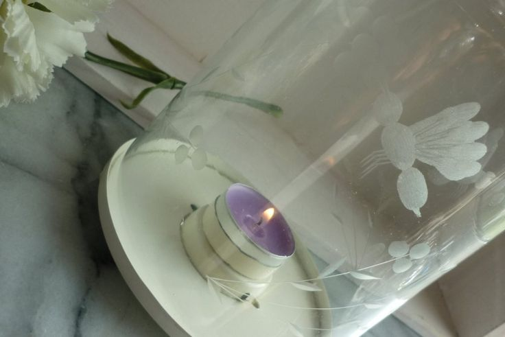 """Cream Vintage 10.5"""" Lantern Candle Holder With Engraved Insects"""
