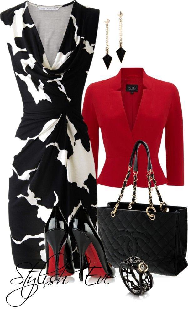 Stylish Black & White Dress, nice black Channel bag